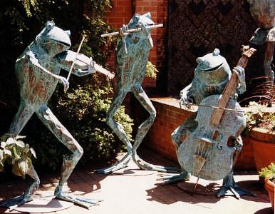 Musical Frog Trio Human-sized Monumental Funny Humorous Classical Bass Flute Violin Fiddle Sculpture - Musical Frog Trio by Beau Smith