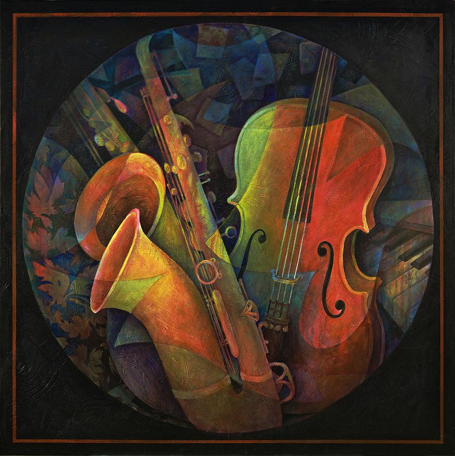 Susanne Clark  Painting - Musical Mandala - Features Cello And Saxs by Susanne Clark