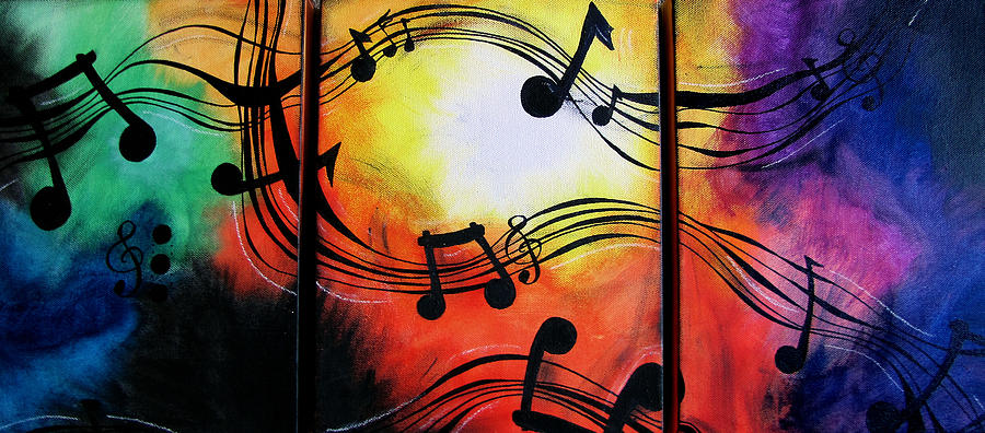 Acrylic Paintings Of Musical Instruments