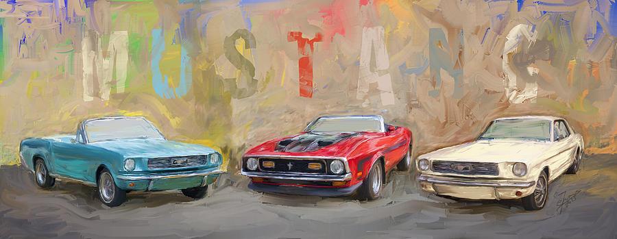 Mustang Panorama Painting Digital Art