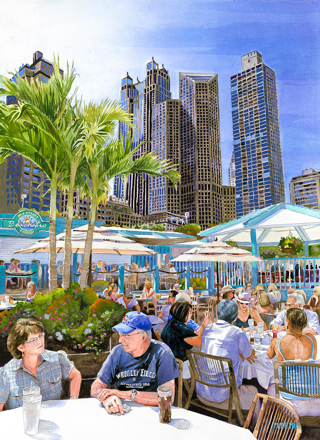Chicago Oak Street Beachstro Palm Windy City Cityscape Downtown Cubs Summer Wrigley Field Restaurant Beach Lake Michigan Tables Umbrellas Diners Lunch Palm Trees Blues Couple Dining Food Drinks Cola  Painting - My Kinda Town by Mike Hill