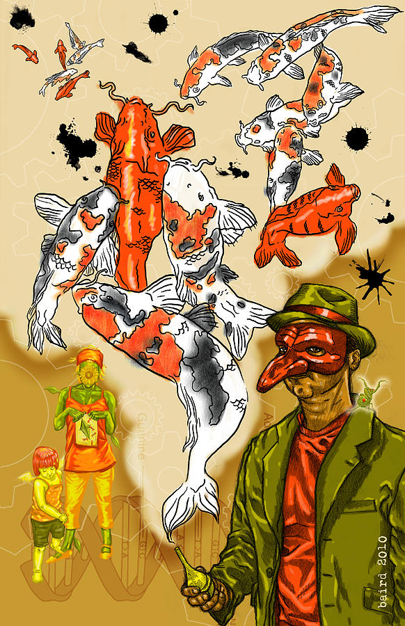 Surrealism Dream-scape Symbolism Iconography Koi Mantis Gears Dna Kite Mask Hat Drawing - Mystic by Baird Hoffmire