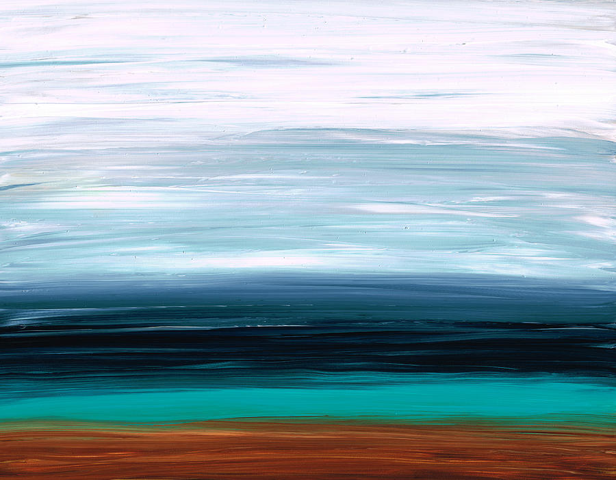 White Painting - Mystic Shore by Sharon Cummings