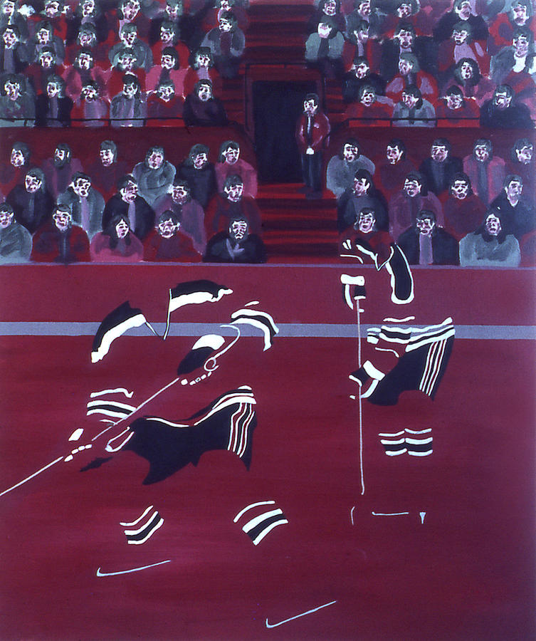 Ice Hockey Painting - N J D by Ken Yackel