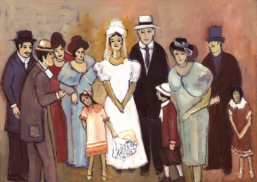Naive Painting - Naive Wedding Large Family White Bride Black Groom Red Women Girls Brown Men With Hats And Flowers by Rachel Hershkovitz