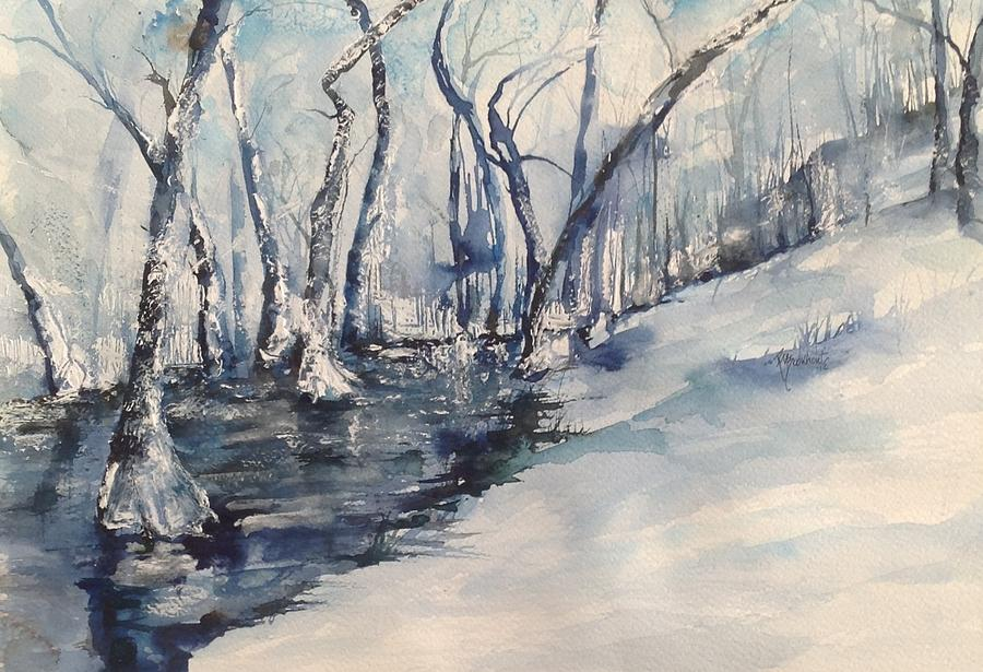 North Little Rock Painting - Nancys Creek Winter Of 2012 by Robin Miller-Bookhout