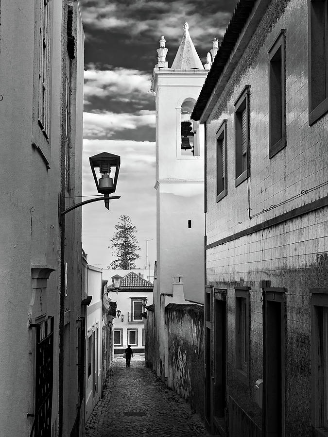 Narrow Street And Bell Tower In Tavira - Portugal Photograph