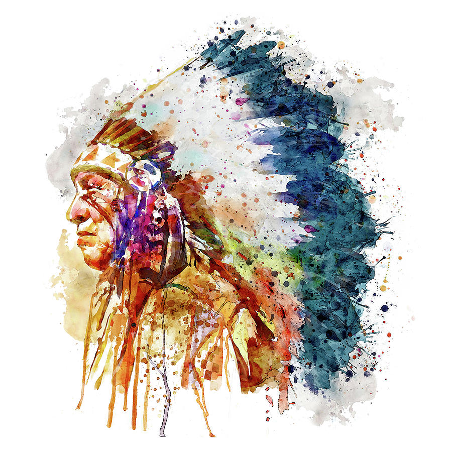 Native American Chief Side Face Mixed Media By Marian Voicu