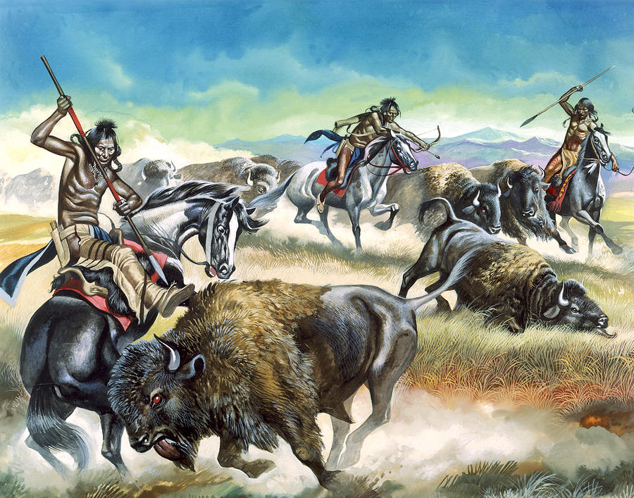Native Painting - Native American Indians Killing American Bison by Ron Embleton