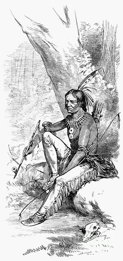 1876 Photograph - Native American With Pipe by Granger