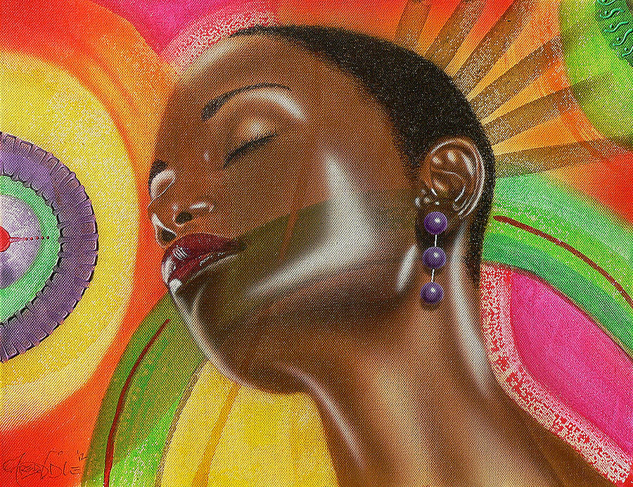 Girl Female Beauty African African American Natural Hair Black Women Bright Colourful Red Green Purple Earrings Brown Neck Pink Magenta Yellow Eyes Ear Orange Painting - Natural 1 by Fred Odle