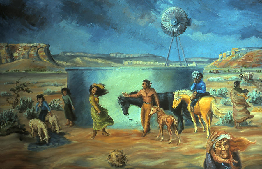 Navajo Painting - Navajo Love As Long As The Wind Shall Blow by Dawn Senior-Trask