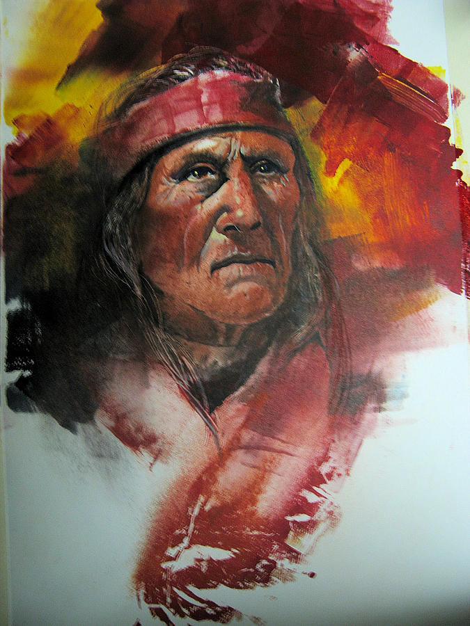 Potrait Painting - Navajo Man by Robert Carver