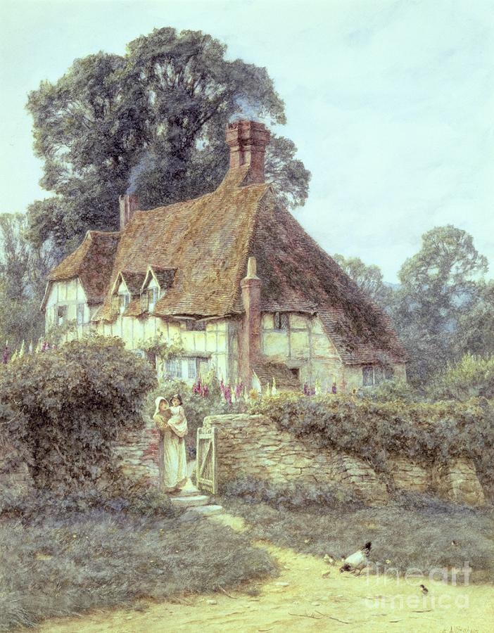 Cottage; Mother And Child; Gate; Rural Scene; Country; Countryside; Home; Path; Garden; Wildflowers; Chicken; Roses; Picturesque; Idyllic; Daughter; Timber Frame; Half-timbered; House; Female Painting - Near Witley Surrey by Helen Allingham