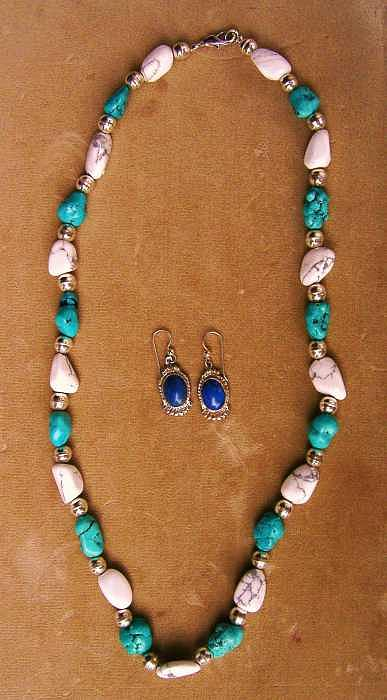 Turquoise Howlite Silver Caste Jewelry - Necklace Earring Set Of Turquoise And Howlite   by Hal Sharpe