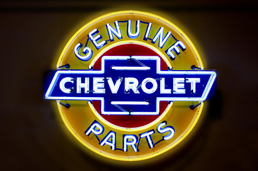 Neon Sign Photograph - Neon Genuine Chevrolet Parts Sign by Mike McGlothlen