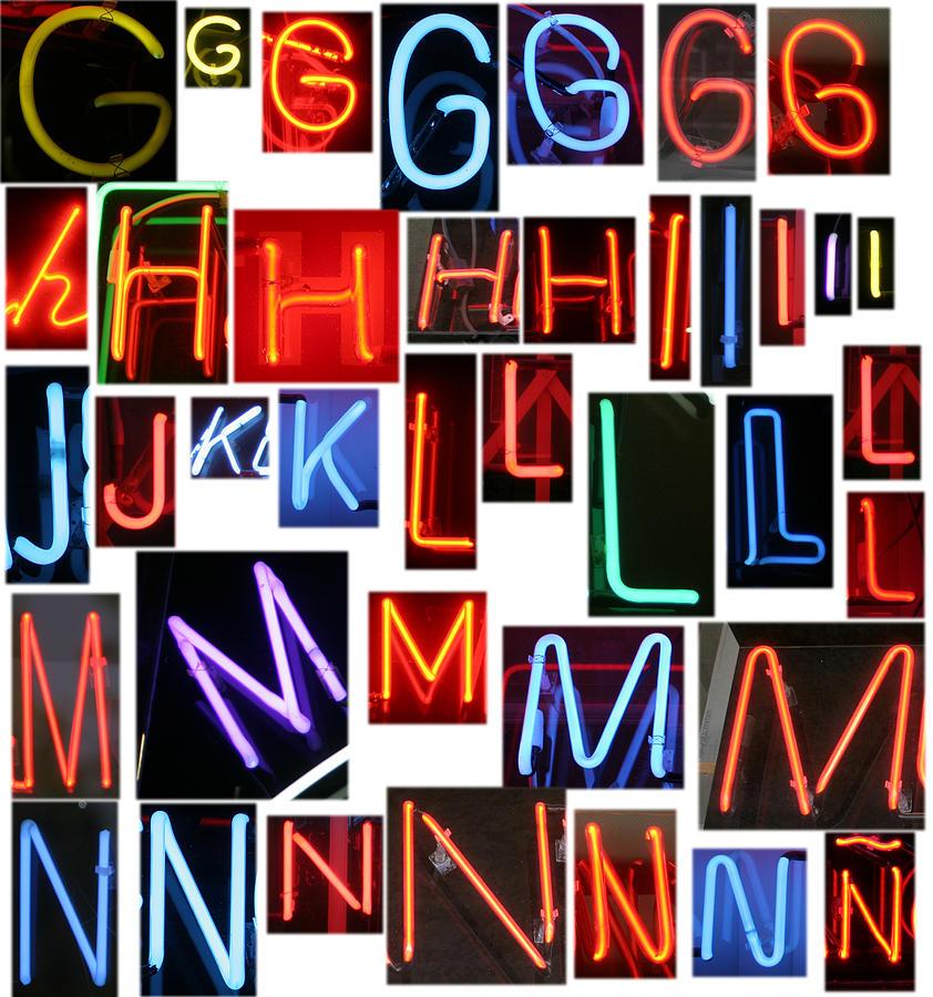 10th Framed Prints Photograph - neon series G through N by Michael Ledray