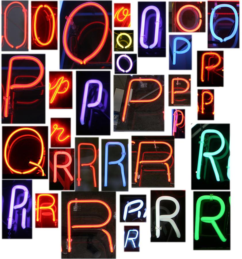 neon sign series O through R Photograph