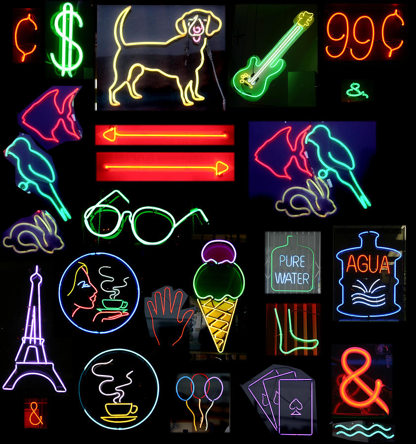 10th Framed Prints Photograph - Neon Sign Series With Symbols Of Various Shapes And Colors by Michael Ledray