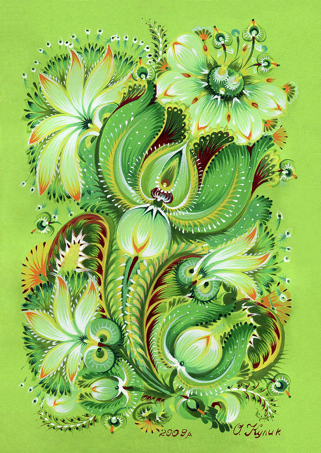 Green Painting - Neptunes Flowers by Olena Kulyk