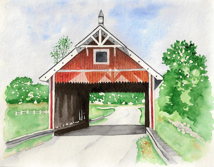 Watercolor Painting - Netcher Road Bridge by Laurie Anderson