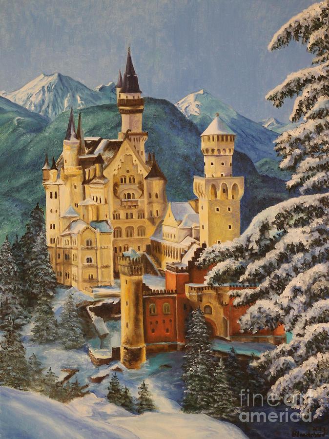 Germany Art Painting - Neuschwanstein Castle In Winter by Charlotte Blanchard