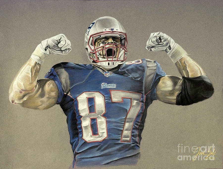 New England Patriots Rob Gronkowski Drawing By Jordan Spector