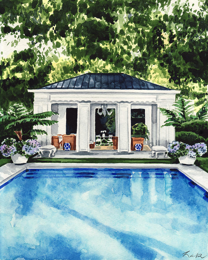 Pool House Painting New England Pool House Swimming Pool By Laura