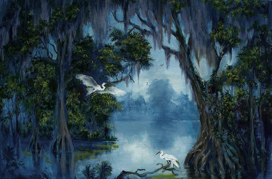 Water Painting - New Orleans City Park Blue Bayou by Saundra Bolen Samuel