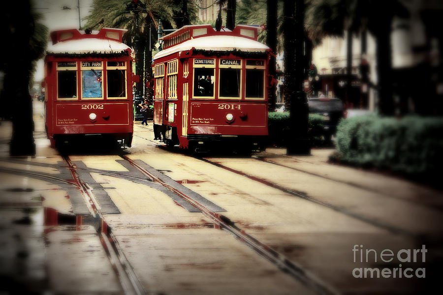New Orleans Photograph - New Orleans Red Streetcars by Perry Webster