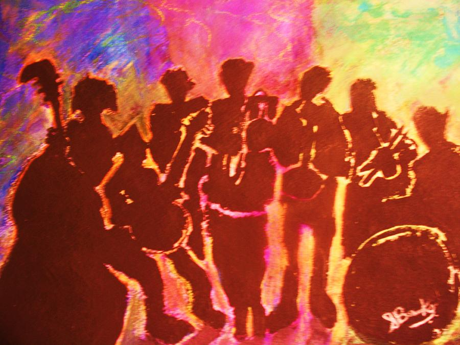 New Orleans Mixed Media - New Orleans Street Band At Sunset by Samuel Banks