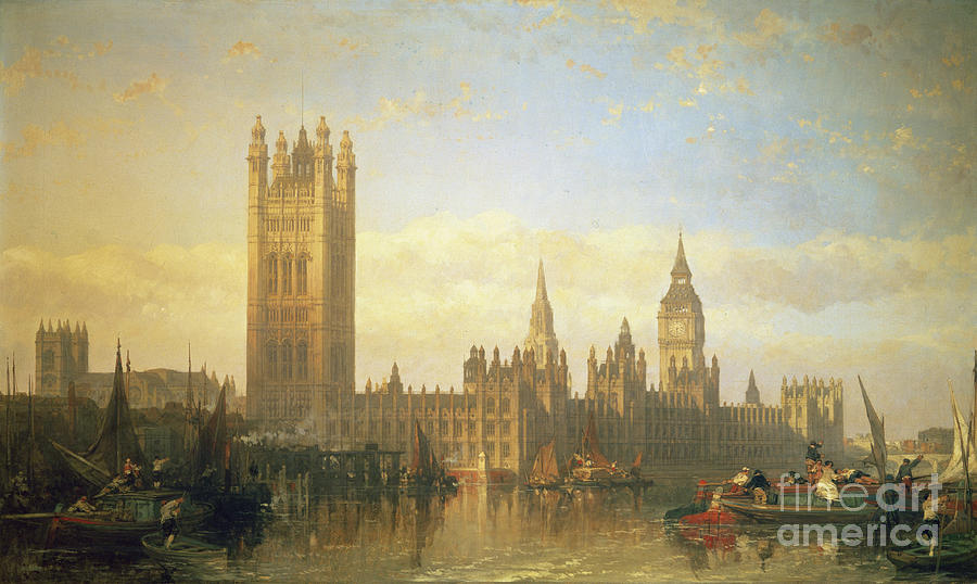 Big Ben Painting - New Palace Of Westminster From The River Thames by David Roberts