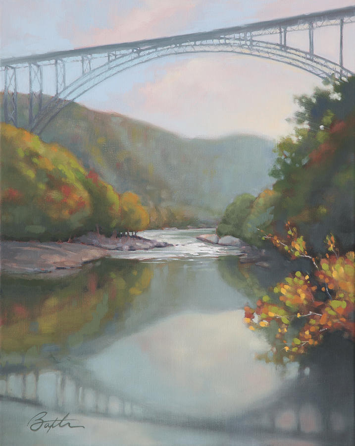 River Painting - New River Gorge by Todd Baxter