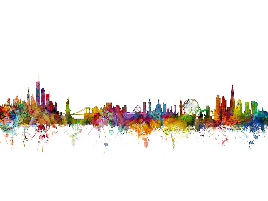 New York And London Skyline Mashup Digital Art By Michael