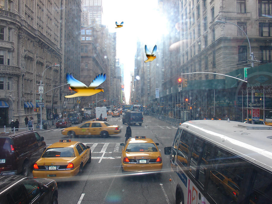 New York City Life Busy Streets Bus Taxi Cabs Yellow Misty Foggy Birds Cars Digital Art - New York by Annette Labedzki