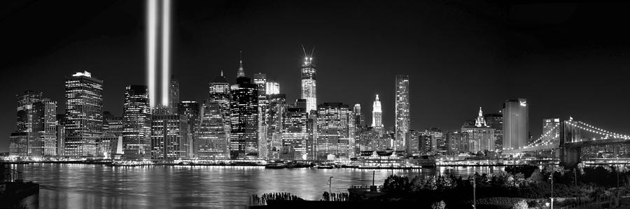 New York City Skyline At Night Photograph - New York City Bw Tribute In Lights And Lower Manhattan At Night Black And White Nyc by Jon Holiday
