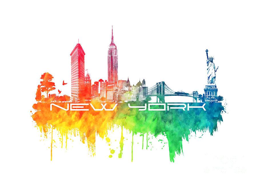 New York City Skyline Color Digital Art by Justyna JBJart