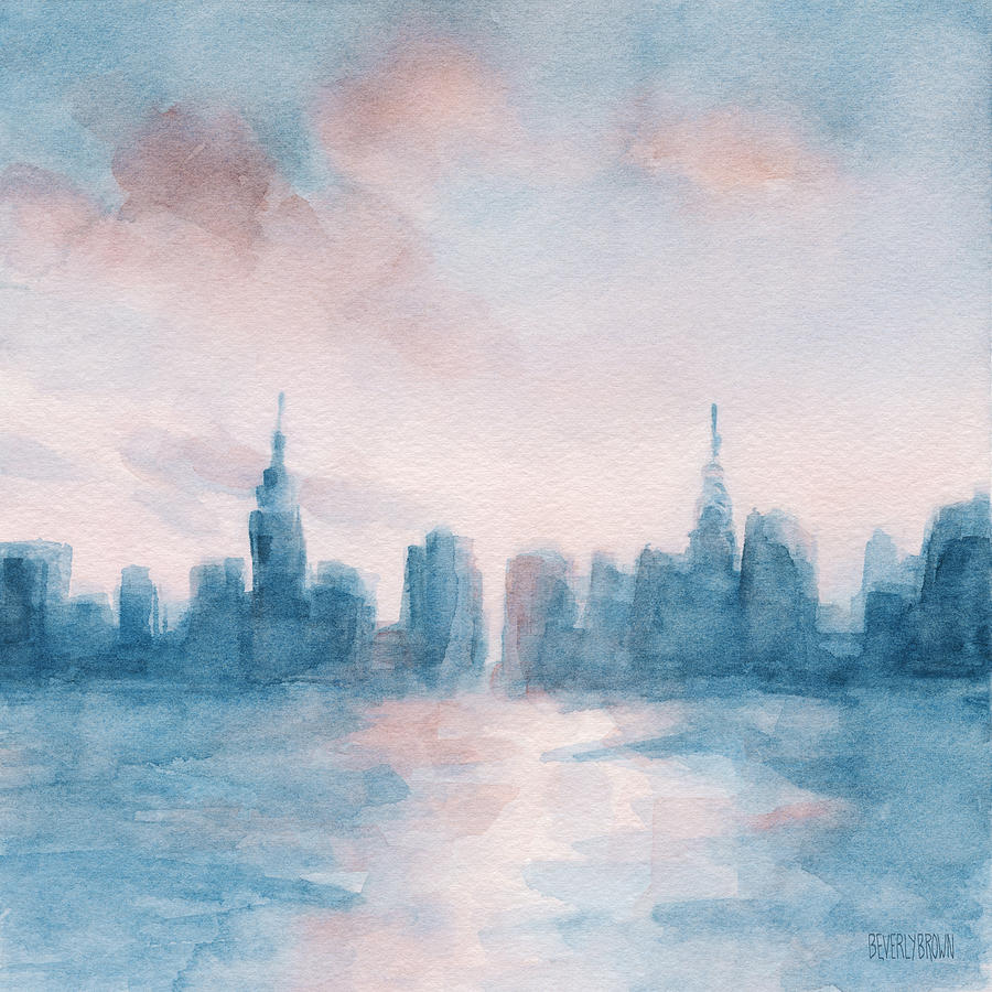 New york city skyline coral and aqua painting by beverly for New york skyline painting