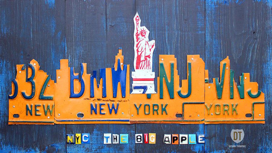 New York Mixed Media - New York City Skyline License Plate Art by ...