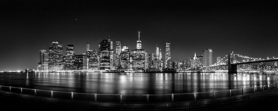 New York City Skyline Panorama At Night Bw Photograph