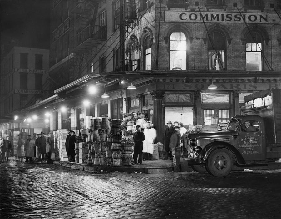 1930s Photograph - New York City Street At Night, Circa by Everett