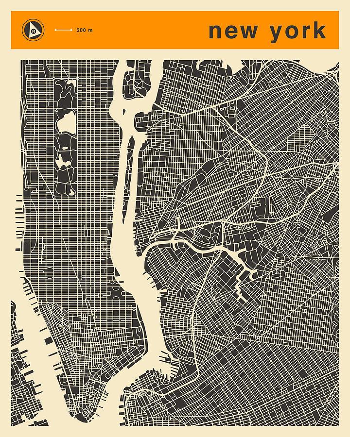 New York Map Digital Art