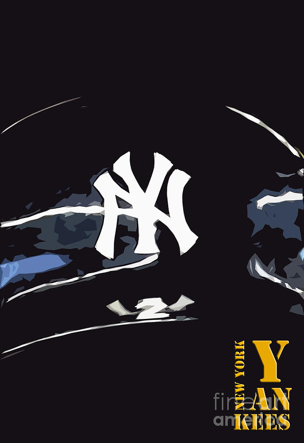 New York Yankees Black Drawing By Pablo Franchi