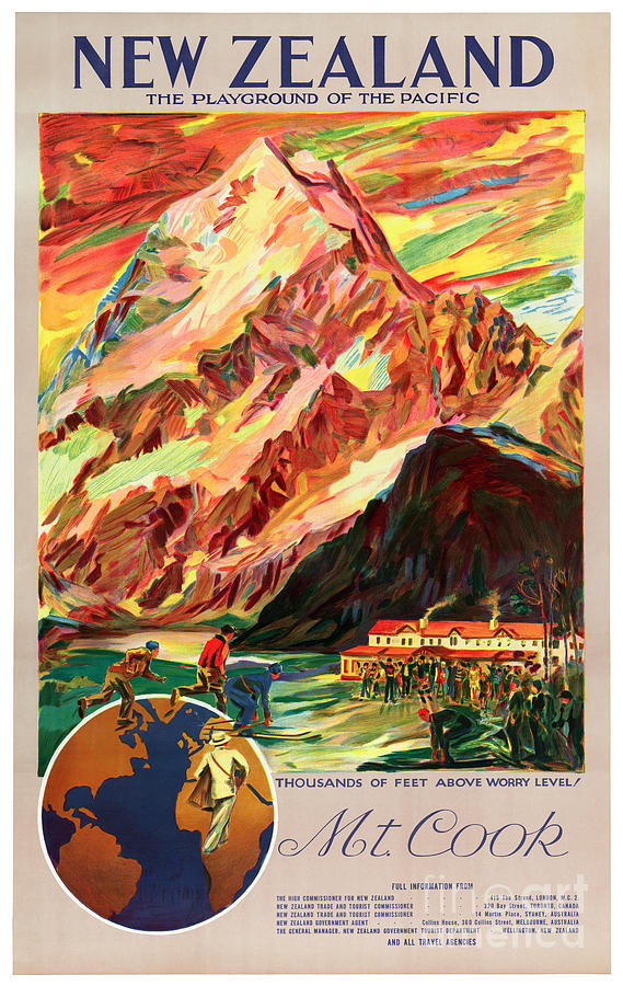 new zealand mt cook vintage travel poster painting