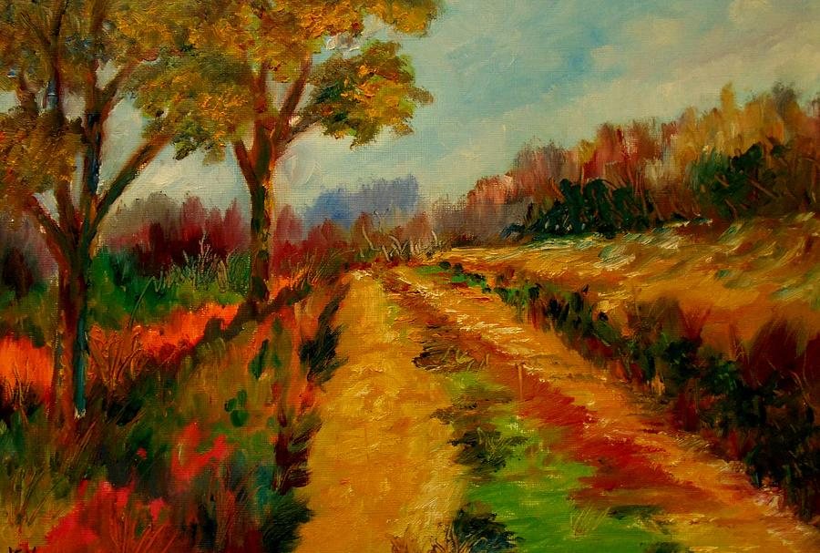 Landscapes Abstruct  Expressionism  Canvas Prints Art Prints  Acrylic Prints Pathways Painting - Nice Pathway by Constantinos Charalampopoulos