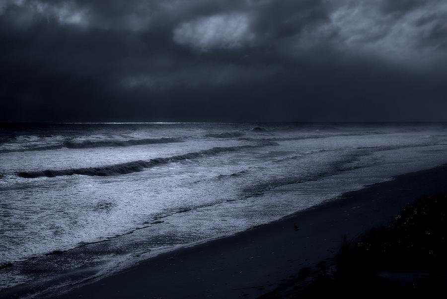 Beach Photograph - Night Beach - Jersey Shore by Angie Tirado