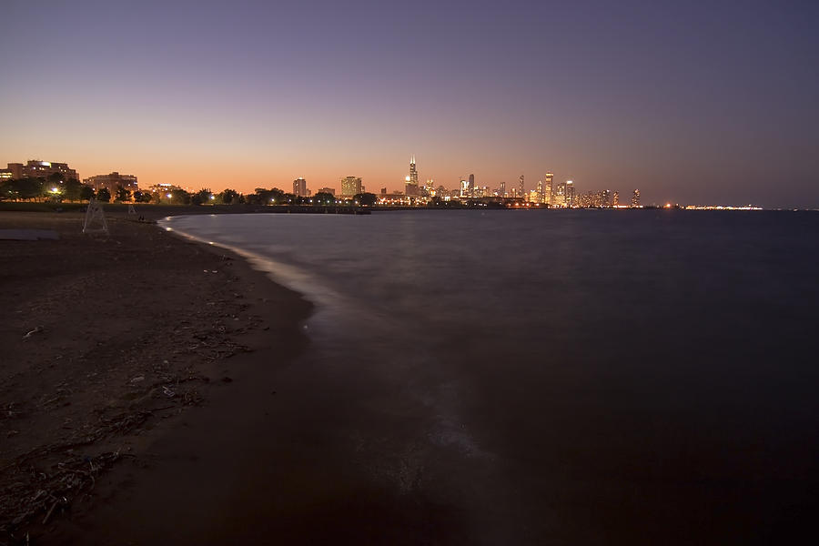 Night Beach And Chicago Skyline Photograph