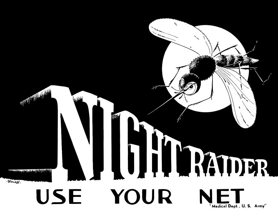 World War Ii Painting - Night Raider Ww2 Malaria Poster by War Is Hell Store