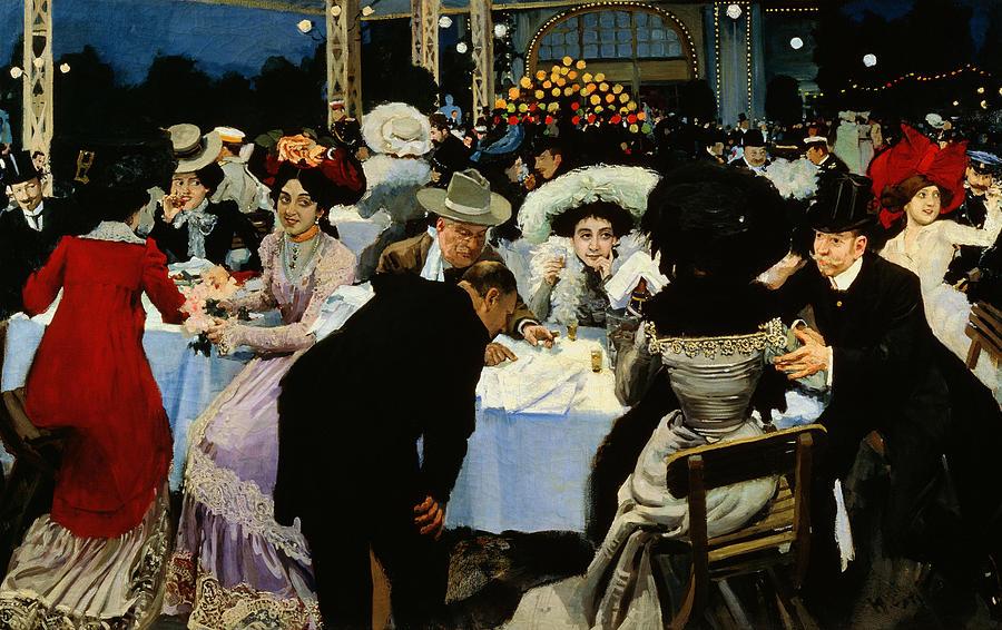 Night Restaurant (oil On Canvas) By M.g Slepyan (fl.1890-1900) Painting - Night Restaurant by MG Slepyan