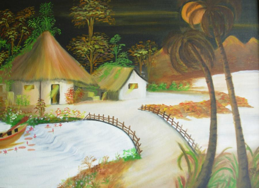 Night Scene From Indian Village Painting by Riya Rathore